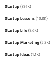Medium's tag suggestions for startup