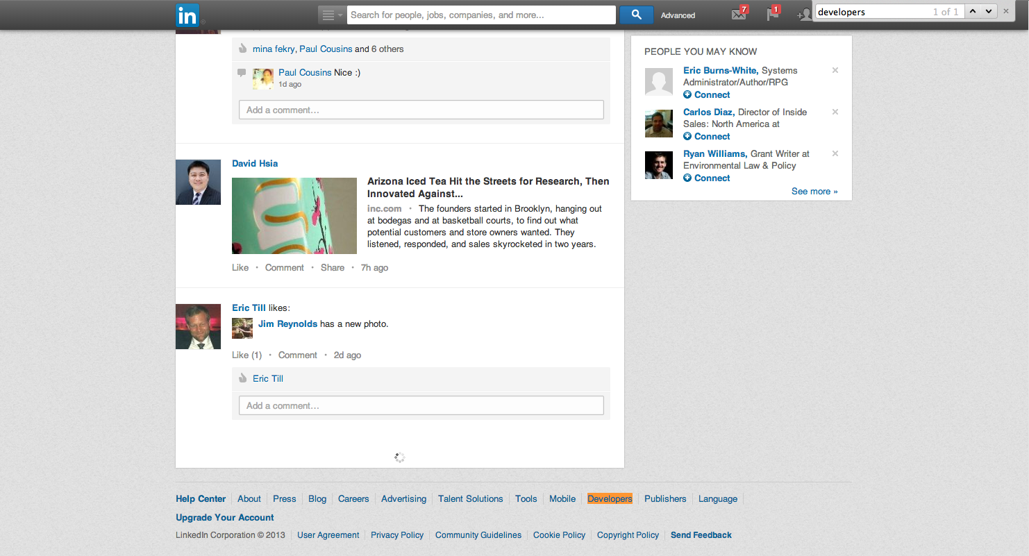 LinkedIn infinite scroll and footer