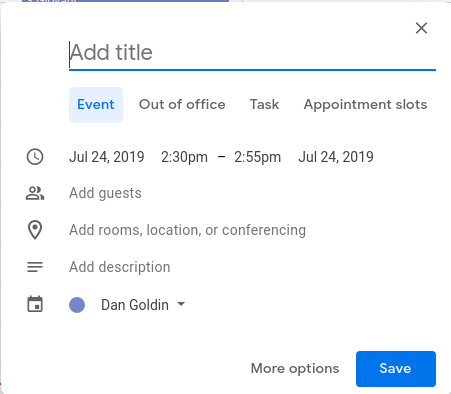 New Google Calendar event creation
